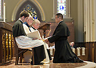 Aug. 25, 2012; Mr. Brian Christopher Ching, C.S.C., professes Final Vows to Rev. Thomas O'Hara, C.S.C., Provincial Superior...Photo by Matt Cashore/University of Notre Dame