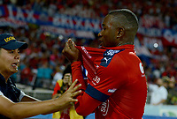 MEDELLÍN -COLOMBIA-28-05-2017: Andres Mosquera jugador del Medellín celebra después de anotar un gol al Nacional durante el encuentro entre Independiente Medellín y Atletico Nacional por la fecha 20 de la Liga Águila I 2017 jugado en el estadio Atanasio Girardot de la ciudad de Medellín. / Andres Mosquera player of Medellin celebrates after scoring a goal to Nacional during match between Independiente Medellin and Atletico Nacional for date 20 of the Aguila League I 2017 at Atanasio Girardot stadium in Medellin city. Photo: VizzorImage/ León Monsalve / Cont
