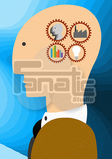 Side view of businessman's head representing business strategy in mind