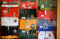 Pictured: A collection of rugby shirts worn by Ken Owens at Carmarthen Athletic, Wednesday 26 April 2017<br /> Re: Interview with British Lions rugby player Ken Owens in Carmarthen, Wales, UK