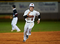 Sarasota Sailors Caden Marsters (5) running the bases during a game against the Riverview Rams on February 19, 2021 at Rams Baseball Complex in Sarasota, Florida. (Mike Janes/Four Seam Images)