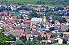 Blick auf Ockenheim mit Kath. Pfarrkirche St. Peter und Paul