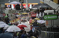 Tom Dumoulin (NLD/Giant-Alpecin) wins as chaos rules at the finish of stage 9 in Andorra Arcalis (coming from Velha Val d'Aran/ESP, 184km) when a fierce thunderstorm (heavy rain/hail) breaks as the riders come in<br /> <br /> 103rd Tour de France 2016