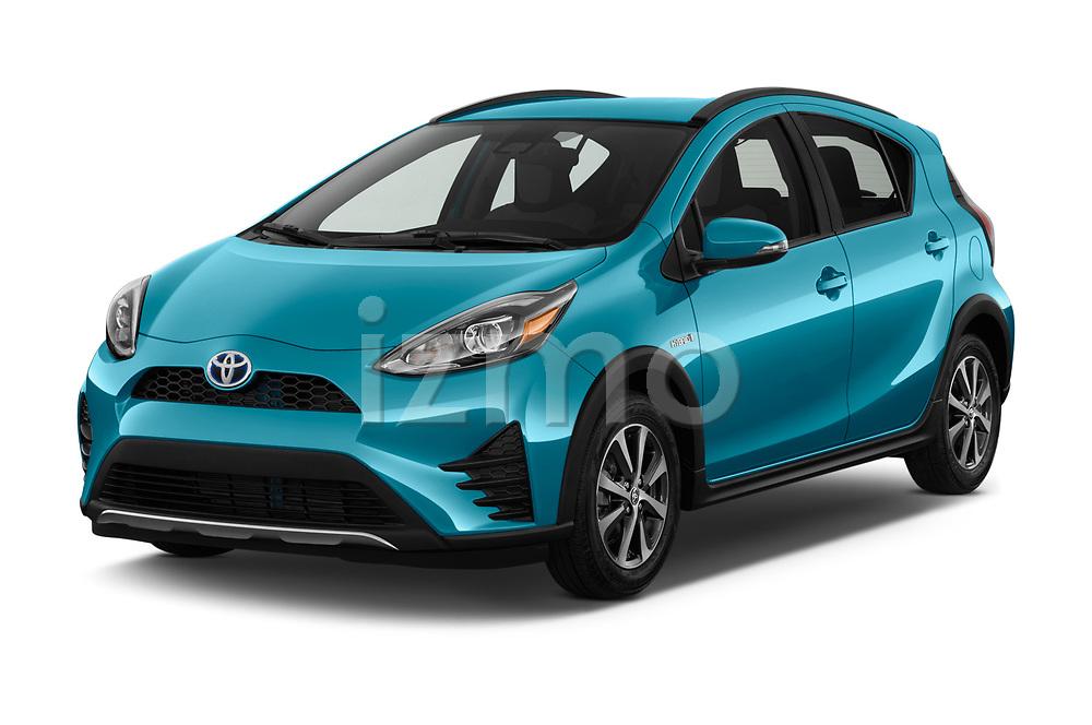 2018 Toyota Prius c One 5 Door Hatchback angular front stock photos of front three quarter view