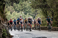 because of the dangerous, slippery roads and after numerous crashes, the peloton rides the last descent neutralised (by themselves)<br /> <br /> 7th La Course by Tour de France 2020 <br /> 1 day race from Nice to Nice (96km)<br /> <br /> ©kramon
