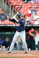Gwinnett Braves second baseman Philip Gosselin (8) at bat during a game against the Buffalo Bisons on May 13, 2014 at Coca-Cola Field in Buffalo, New  York.  Gwinnett defeated Buffalo 3-2.  (Mike Janes/Four Seam Images)