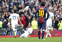 MADRI, ESPANHA, 02 MARÇO 2013 - CAMPEONATO ESPANHOL - REAL MADRID X BARCELONA - Messi (D) jogador do Barcelona em partida contra o Real Madrid em partida pela 26 rodada do Campeonato Espanhol, neste sabado, 02. (FOTO: ALEX CID-FUENTES / ALFAQUI / BRAZIL PHOTO PRESS).