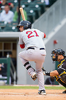 Alex Hassan (21) of the Pawtucket Red Sox at bat against the Charlotte Knights at BB&T Ballpark on August 9, 2014 in Charlotte, North Carolina.  The Red Sox defeated the Knights  5-2.  (Brian Westerholt/Four Seam Images)
