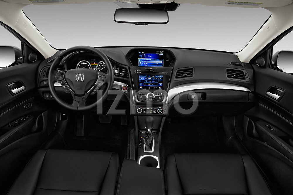 Stock photo of straight dashboard view of a 2018 Acura ILX Technology Plus 4 Door Sedan