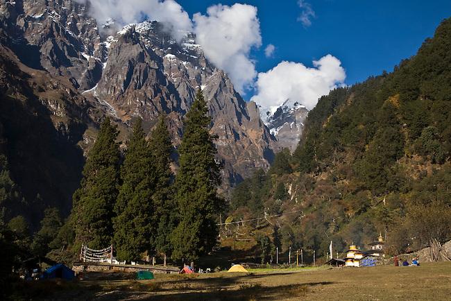 Camping at a A TIBETAN BUDDHIST MONASTERY -  NEPAL HIMALAYA