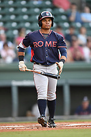 Right fielder Randy Ventura (11) of the Rome Braves bats in a game against the Greenville Drive on Wednesday, May 31, 2017, at Fluor Field at the West End in Greenville, South Carolina. Greenville won, 7-1. (Tom Priddy/Four Seam Images)