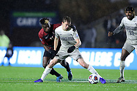 CARY, NC - DECEMBER 13: Sean O'Hearn #4 of Georgetown University shields the ball from Ousseni Bouda #11 of Stanford University during a game between Stanford and Georgetown at Sahlen's Stadium at WakeMed Soccer Park on December 13, 2019 in Cary, North Carolina.