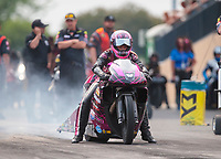 May 31, 2019; Joliet, IL, USA; NHRA pro stock motorcycle rider Angie Smith during qualifying for the Route 66 Nationals at Route 66 Raceway. Mandatory Credit: Mark J. Rebilas-USA TODAY Sports