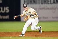 Wake Forest Demon Deacons second baseman Conor Keniry #14 fields a ground ball during the game against the Miami Hurricanes at NewBridge Bank Park on May 25, 2012 in Winston-Salem, North Carolina.  The Hurricanes defeated the Demon Deacons 6-3.  (Brian Westerholt/Four Seam Images)