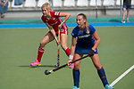 GER - Mannheim, Germany, April 15: During the field hockey 1. Bundesliga match between Mannheimer HC (blue) and Rot-Weiss Koeln (red) on April 15, 2018 at Am Neckarkanal in Mannheim, Germany. Final score 2-1. (Photo by Dirk Markgraf / www.265-images.com) *** Local caption *** Hannah Gablac #4 of Rot-Weiss Koeln