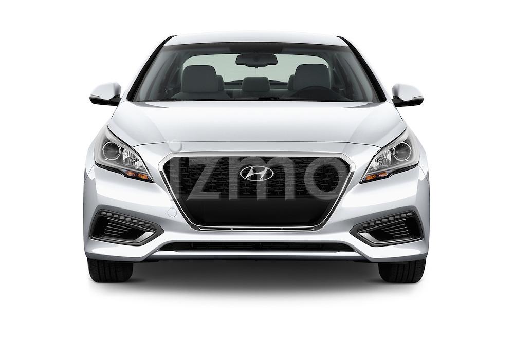 Car photography straight front view of a 2017 Hyundai Sonata-Hybrid Hybrid 4 Door Sedan Front View