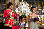 """July 18, 2012, Tokyo, Japan - (L-R) The Japanese actor Daigo, the child actress Tani Kanon and Lily Collins wave to the audience during the Premier of """"Mirror Mirror""""  at St. Grace Cathedral in Tokyo. The """"Mirror Mirror"""" film tells the story of an orphaned princess called Snow White (Lilly Collins) and her cruel stepmother the Queen (Julia Roberts) who plans to take over the kingdom. The Queen tries to get rid of Snow White by throwing the forest, but princess is rescued by a band of diminutive highway robbers, and with them she seeks to recover her kingdom. This film will be released from September 14 in Japan. (Photo by Rodrigo Reyes Marin/AFLO)"""