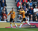 Michael Duffy scores for Alloa and is congratulated by Mitch Megginson