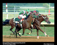 As seen in the Arabian Horse Galleries exhibit at The Kentucky Horse Park<br /> <br /> Dreams Of Valor (#2) beating Genuine Monarch (#1).The Bob Magness Derby