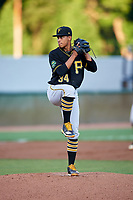 Bristol Pirates starting pitcher Roger Santana (34) delivers a pitch during the second game of a doubleheader against the Bluefield Blue Jays on July 25, 2018 at Bowen Field in Bluefield, Virginia.  Bristol defeated Bluefield 5-2.  (Mike Janes/Four Seam Images)