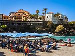 Spanien, Kanarische Inseln, Teneriffa, Puerto de la Cruz: Restaurant am Playa de San Telmo | Spain, Canary Islands, Tenerife, Puerto de la Cruz: Restaurant at Playa de San Telmo