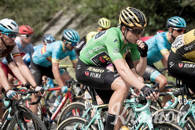 Green Jersey Wout van Aert (BEL/Jumbo - Visma) snacking on his last gel before the final climb of the day<br /> <br /> Stage 6: Saint-Vulbas to Saint-Michel-de-Maurienne (228km)<br /> 71st Critérium du Dauphiné 2019 (2.UWT)<br /> <br /> ©kramon