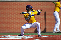Connor Norby (1) of the East Carolina Pirates squares to bunt against the Charlotte 49ers at Hayes Stadium on March 8, 2020 in Charlotte, North Carolina. The Pirates defeated the 49ers 4-1. (Brian Westerholt/Four Seam Images)