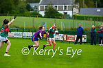 Clare Stagg  Kilcummin and Leah O'Sullivan Inbhear Sceine Gaels in action during their Intermediate clash in Kilcummin on Sunday