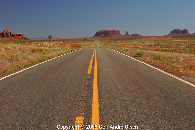 The road towards Monument Valley in Arizona, USA