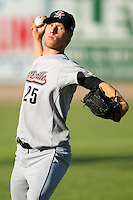 Michael Foltynewicz #25 of the Greeneville Astros warms up in the outfield prior to pitching against the Bristol White Sox at Boyce Cox Field July 2, 2010, in Bristol, Tennessee.  Photo by Brian Westerholt / Four Seam Images