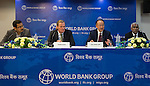 23 July 2014, New Delhi, India: President of the World Bank, Mr Jim Yong Kim addresses a press conference  flanked by Sudip Mozumder , Country Director Onno Ruhl  and Serge Devieux, IFC Director, (at right) on issues and projects being undertaken by the World Bank during his visit to India and his discussions with Prime Minister Modi. Picture by Graham Crouch/World Bank