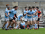 Garryowen celebrate a try against Ennis during their U-18 Munster Club Final at Thomond Park. Photograph by John Kelly.