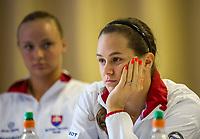 Bratislava, Slovenia, April 21, 2017,  FedCup: Slovakia-Netherlands, Draw ceremony, Slovakian table: Cepelova and Sramkova<br /> Photo: Tennisimages/Henk Koster