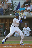 Asheville Tourists outfielder Delta Cleary jr. #24 at bat for the Southern division team in the South Atlantic League All-Star game held at the Joseph P. Riley Jr.Ballpark in Charleston, South Carolina on June 19th, 2012. The Northern division defeated the Southern division by the score of 3-2. (Robert Gurganus/Four Seam Images)