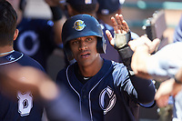 Ricky Surum (28) of the Charleston RiverDogs is congratulated by his teammates after scoring a run during the game against the Hickory Crawdads at L.P. Frans Stadium on May 13, 2019 in Hickory, North Carolina. The Crawdads defeated the RiverDogs 7-5. (Brian Westerholt/Four Seam Images)