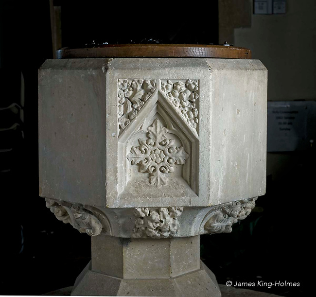The north face of the font of St Lawrence Church, Tubney, Oxfordshire, UK. This is the only Protestant church designed by Augustus Pugin. The interior fittings were designed by him and remain unchanged since its consecration in 1847.