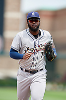 San Antonio Missions right fielder Franmil Reyes (7) jogs back to the dugout during a game against the Springfield Cardinals on June 4, 2017 at Hammons Field in Springfield, Missouri.  San Antonio defeated Springfield 6-1.  (Mike Janes/Four Seam Images)