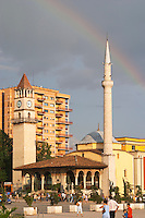 The Ethem Bey Beu Mosque. View across the square. The Tirana Main Central Square, Skanderbeg Skanderburg Square. Tirana capital. Albania, Balkan, Europe.