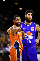 Courtney Belger of the Southland Sharks looks on during the round two NBL match between the Wellington Saints and the Southland Sharks at TSB Bank Arena, Wellington, New Zealand on Friday 7 May 2021.<br /> Photo by Masanori Udagawa. <br /> www.photowellington.photoshelter.com