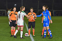 referee Lois Otte with OHL's Lenie Onzia (8) (L) and Gent's Silke Vanwynsberghe (R) pictured during a female soccer game between  AA Gent Ladies and Oud Heverlee Leuven on the 9th matchday of the 2020 - 2021 season of Belgian Scooore Womens Super League , friday 11 th of December 2020  in Oostakker , Belgium . PHOTO SPORTPIX.BE | SPP | DIRK VUYLSTEKE