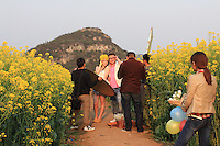 Wedding photographs have become highly prized in the Middle Empire. A young couple is having its portrait taken.