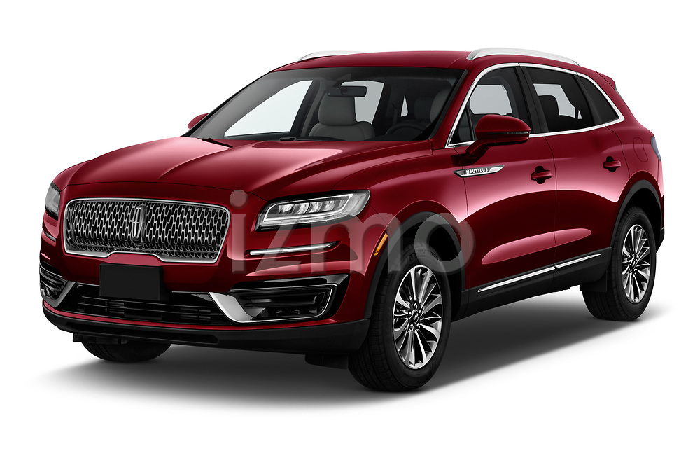 2019 Lincoln Nautilus Select 5 Door SUV angular front stock photos of front three quarter view