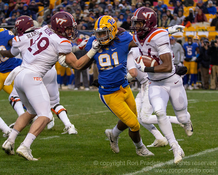 Virginia Tech running back Terius Wheatley (24). The Pitt Panthers defeated the Virginia Tech Hokies 52-22 on November 10, 2018 at Heinz Field in Pittsburgh, Pennsylvania.