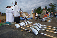 Chrome shovels are lined up for ground breaking for a new Catholic church in Westerville, Ohio.
