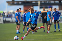 SAN JOSE, CA - MAY 15: Jackson Yueill #14 of the San Jose Earthquakes warming up before a game between Portland Timbers and San Jose Earthquakes at PayPal Park on May 15, 2021 in San Jose, California.