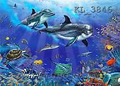 Interlitho, Lorenzo, FANTASY, paintings, dolphins, turtle, fish, KL, KL3846,#fantasy# illustrations, pinturas