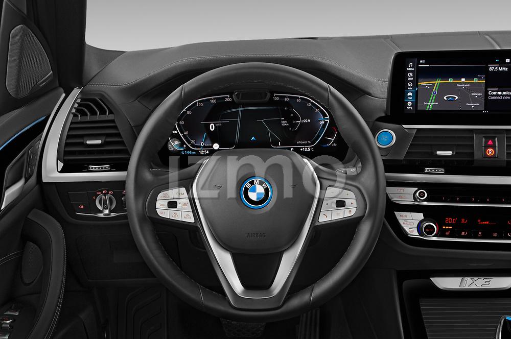 Steering wheel view of a 2021 BMW iX3 Impressive 5 Door SUV