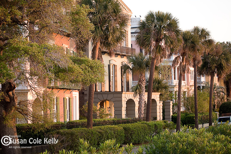 A row of Southern homes face the sunrise in the Battery district,  Charleston, SC, USA