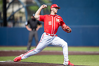 Maryland Terrapins pitcher Sean Burke (18) delivers a pitch to the plate against the Michigan Wolverines on May 23, 2021 in NCAA baseball action at Ray Fisher Stadium in Ann Arbor, Michigan. Maryland beat the Wolverines 7-3. (Andrew Woolley/Four Seam Images)