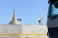 QATAR, Doha, construction boom for FIFA football world cup 2022 , the construction is done by migrant workers from all over the world, construction of new city railway line, spiral mosque / KATAR, Doha, Bauboom fuer die FIFA Fußball WM 2022/ KATAR, Doha, Bauboom fuer die FIFA Fußball WM 2022, auf den Baustellen schuften Gastarbeiter aus aller Welt, Bau einer neuen S-Bahn, Moschee, Fanar, Qatar Islamic Culture Center